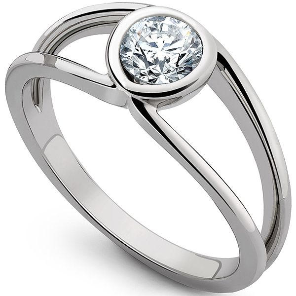 Infinity Double Shoulder Diamond Solitaire Ring