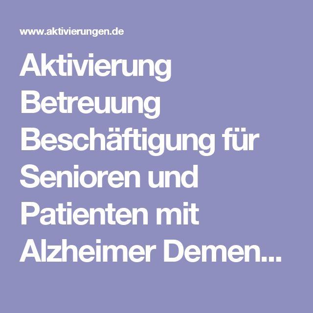 aktivierung betreuung besch ftigung f r senioren und patienten mit alzheimer demenz im altenheim. Black Bedroom Furniture Sets. Home Design Ideas