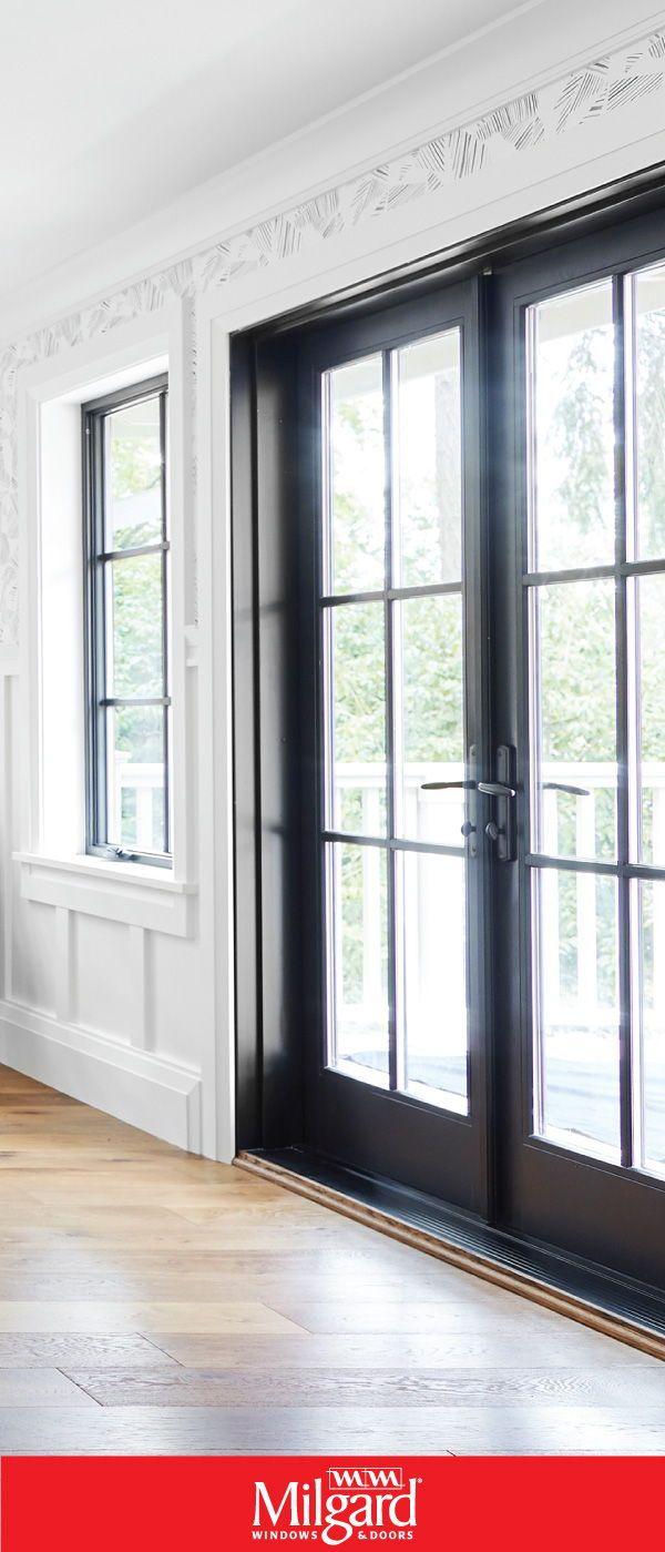 black french patio doors add a dark