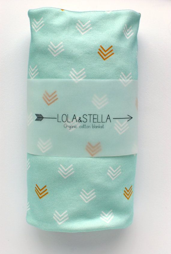 swaddle blanket Organic baby blanket in mint and gold chevrons by LolaandStella, $38.00