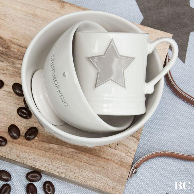 Bastion Collections Winter 2015 Mugs Stars Naturel Goodmorning Ceramics Tasse Star someone special mit rosa Herz - jetzt auch im Calluna Cottage Südheide/Hermannsburg