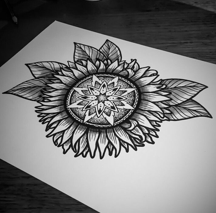 Instragram  @  ishi_tattoo  sunflower mandala