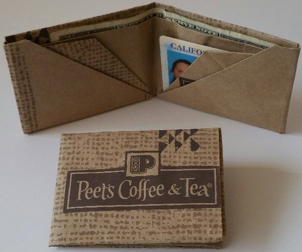 Origami wallet from Peet's Coffee shopping bag 10/2015