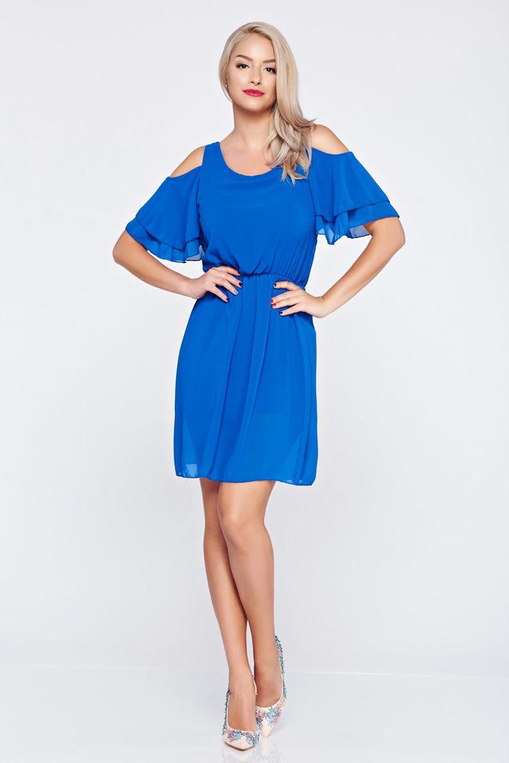 Comanda online, Rochie din voal cu elastic in talie albastra cu umeri decupati. Articole masurate, calitate garantata!