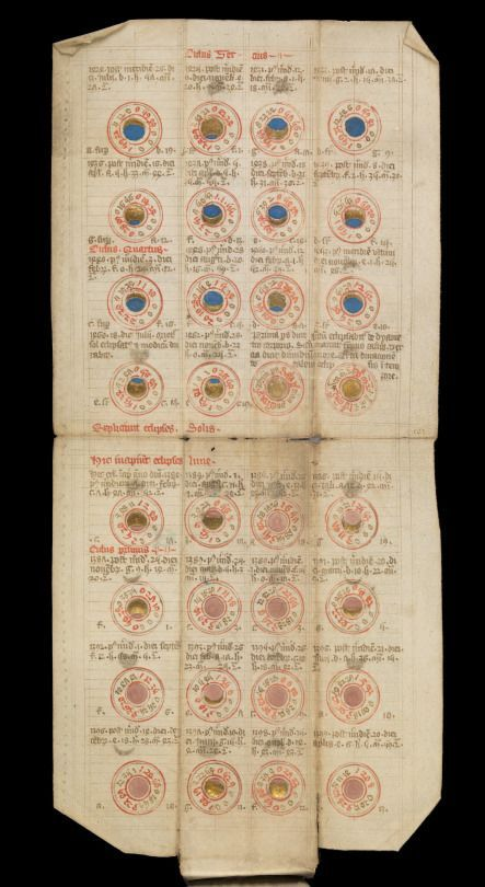 """""""Medieval folding almanac"""", ca. 15th century via Wellcome Library on Wikimedia Commons, Creative Commons CC BY 4.0 """"Contains a calendar and astrological tables and diagrams, including lunar and solar eclipses."""" - Wellcome Library"""