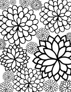 free printable bursting blossoms flower coloring page - Flowers To Print And Color
