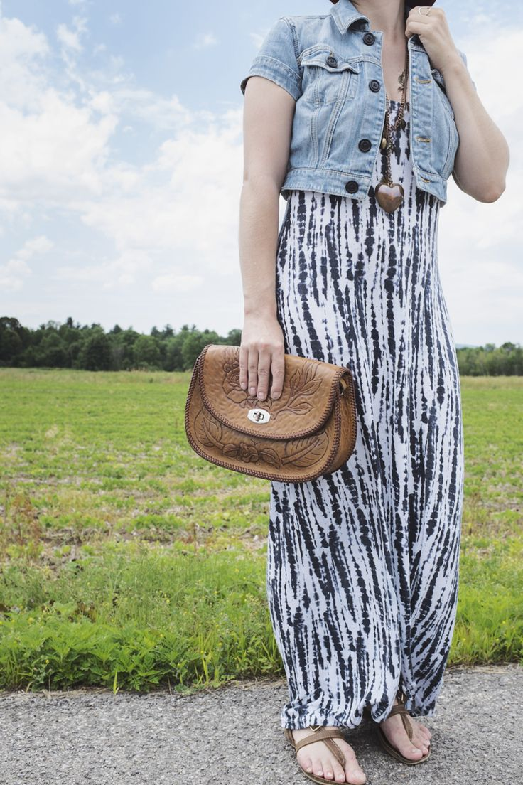 ECO STYLE / THE MAXI THAT KEEPS ON GIVING. Thrifted vintage hat / maxi dress /vintage necklace / tooled leather bag. Amandromeda jacket and Roots sandals