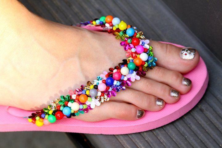 Do it yourself beaded flip flops | Drama Queen Seams