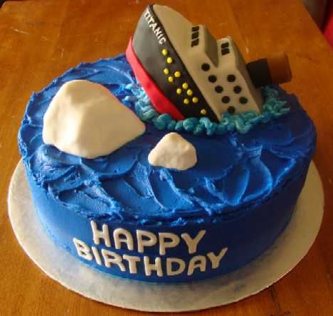 Titanic Birthday Cake - Sean told me last night he wants a Titanic themed birthday party. Perfect cake! I'm definitely not this talented though!!