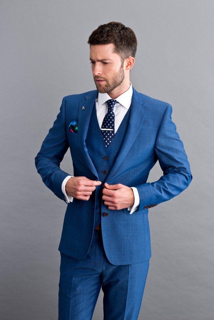 Trend-Anzug-verheiratet-royal-blaue dreiteilig-Wes…