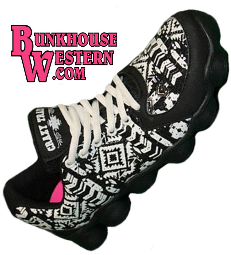 Black and White, Aztec Print Tennis Shoes, Athletic Sneakers, Crazy Train, Cowgirl, Rodeo, Reebok, Adidas, Nike, $69.99, http://www.bunkhousewestern.com/BAS_p/7732.htm