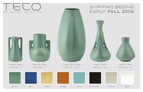 teco pottery.  craftsman style pottery for vases and carafes. $70-$200