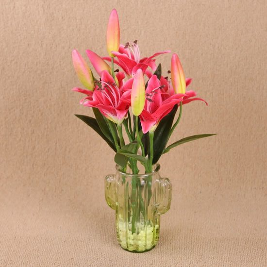 42cm Artificial Lily Arranged In Glass Vase Artificial Lily