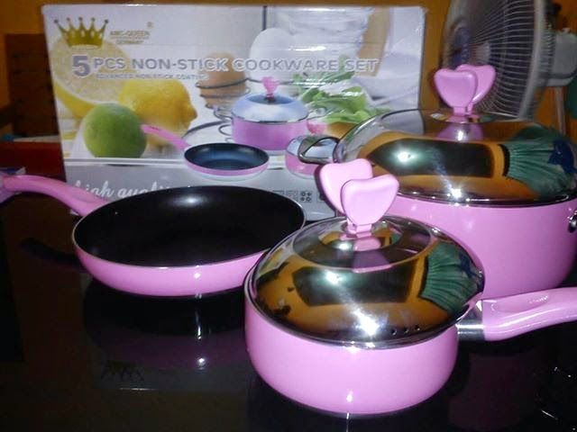 BG homeshoping Magelang: PANCI SET 5 PCS NON - STICK COOKWARE SET PINK GERM...