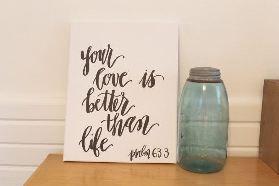 Hand-drawn Bible Verse Canvas / Love Quote Canvas