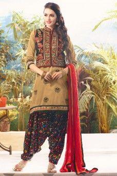 Beige Cotton Embroidered Cotton Jacket Style Festive Patiala Suit  #traditional #wedding #festivewear #printed #casualwear #salwar_kameez #suits #dress #gown #anarkali #sarees #sari #lehenga_choli #lehenga #choli #chania_choli #Malaysia #Uk #Pakistan #india #germany #bridewear #indian_lady_collection