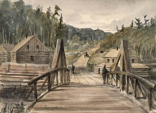Camp Saint-François, centre du portage de Témiscouata, par Bainbrigge, ca 1840. Crédit: Bibliothèque et Archives Canada, no d'acc 1956-62-121.