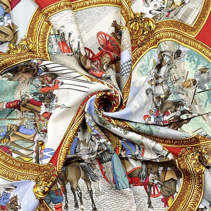 GRAIL Auth Hermes Paris LES TROIS MOUSQUETAIRES Silk Scarf Carre LEDOUX 90cm #Hermes #ShawlWrap