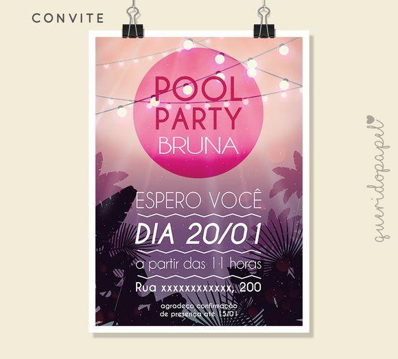Pool Party, Convite Pool Party, Convite Verão, Festa do Havaí