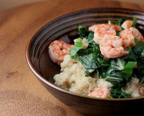 Cajun Shrimp 'n Cheesy Quinoa with Swiss Chard. {I left substituted fresh baby spinach for the Swiss Chard--added it at the very end...yummy!}