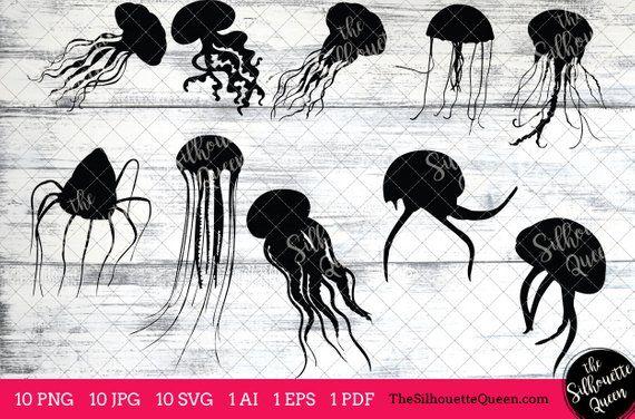 Jellyfish Svg Jellyfish Monogram Jellyfish Svg File Etsy Animal Outline Art Clipart Silhouette Art
