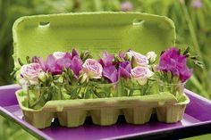 flowers in egg crate~ love that green