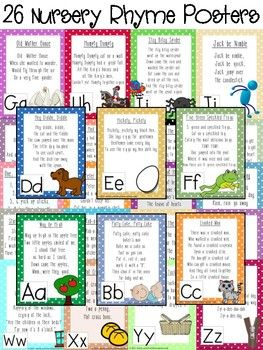 Alphabet Nursery Rhymes (Rhymes and Activities for Learning ABC's) Looking for a fun, hands-on, applicable way to teach the alphabet? Why not use nursery rhymes? These nearly forgotten short poems are perfect for teaching alphabet knowledge, phonemic awareness, concepts of print, phonics and so much more. In this product students will learn a nursery rhyme with each letter.