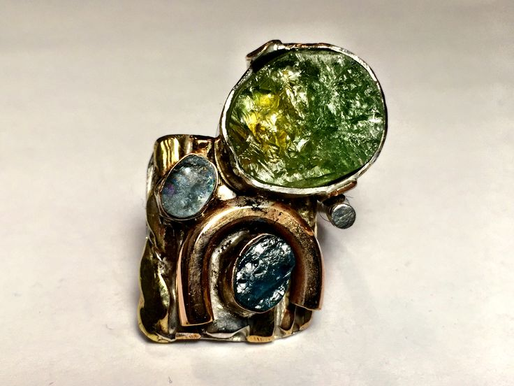 Raw peridot, apatite and aquamarine with gold filled and sterling silver