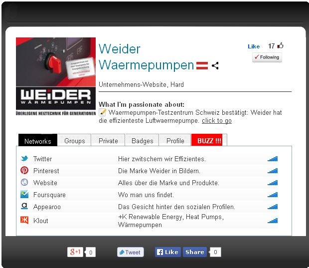 Weiders vollständige soziale Web Präsenz http://appearoo.com/WeiderWaermepumpen #appearoo #waermepumpen