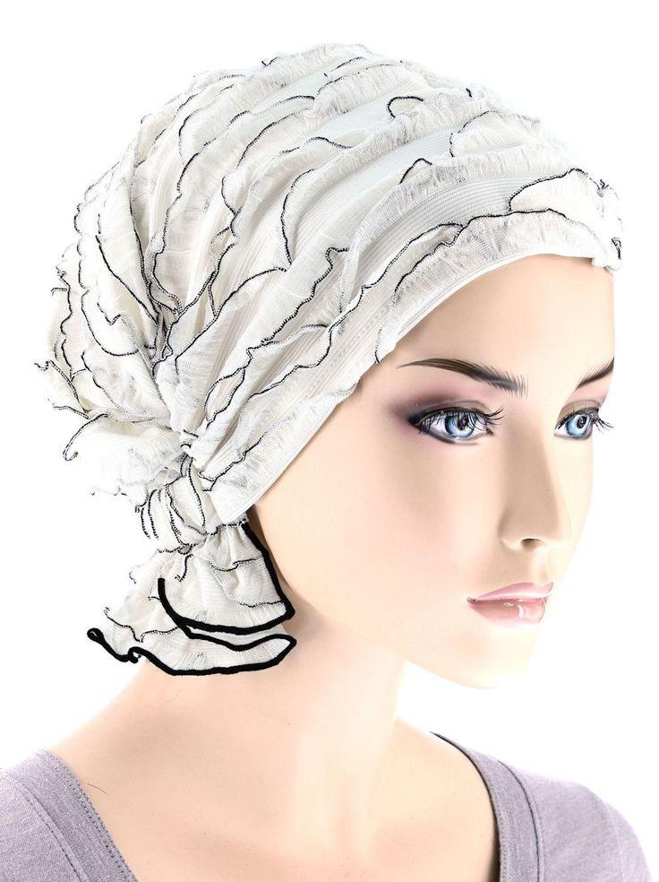 The Abbey Cap in Ruffle White with Black Trim for Women with Cancer, Chemo, Hair Loss