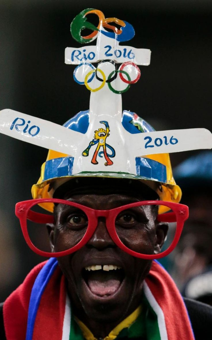 Fans of South Africa cheer their team during their Rio 2016 Olympic Games First Round Group A men's football match South Africa vs Iraq at the Corinthians Arena, in Sao Paulo.
