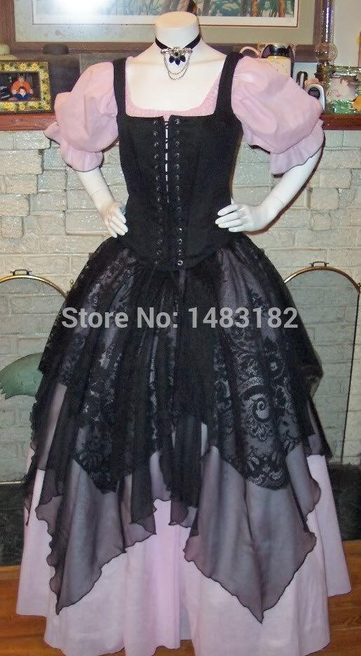Платье, ренессанс пират платье костюм непослушный пиво-девушка-пиво-девка-дизайн женщин костюм сцена платья