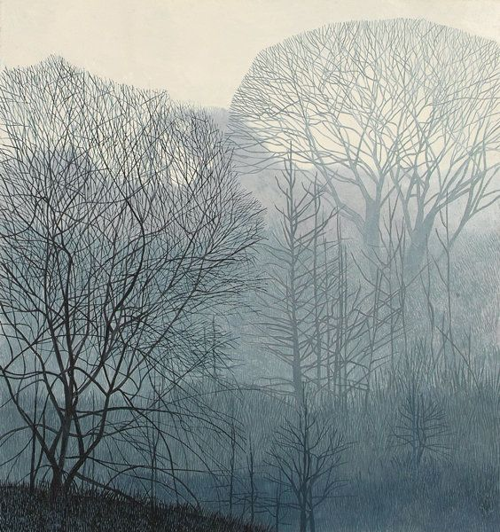 Annie Ovenden:  Valley in the Mist.  Oil on paper