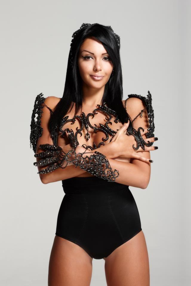 Nabilla Benattia wearing my body piece, head band, and arm bracelet. Photography by Slam.