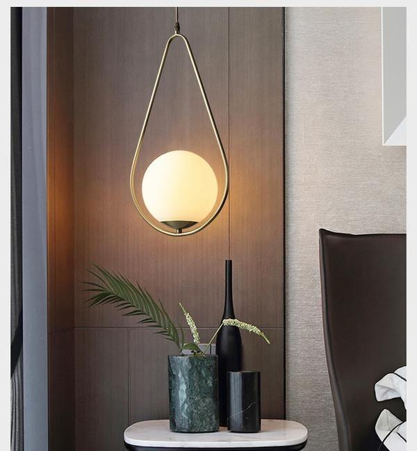 Modern Led Round Glass Ball Pendant Lights Iron E14 Pendant Lamps