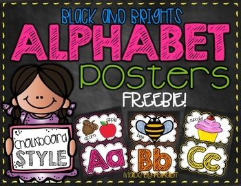 Black  Brights Chalkboard Alphabet FREEBIE!