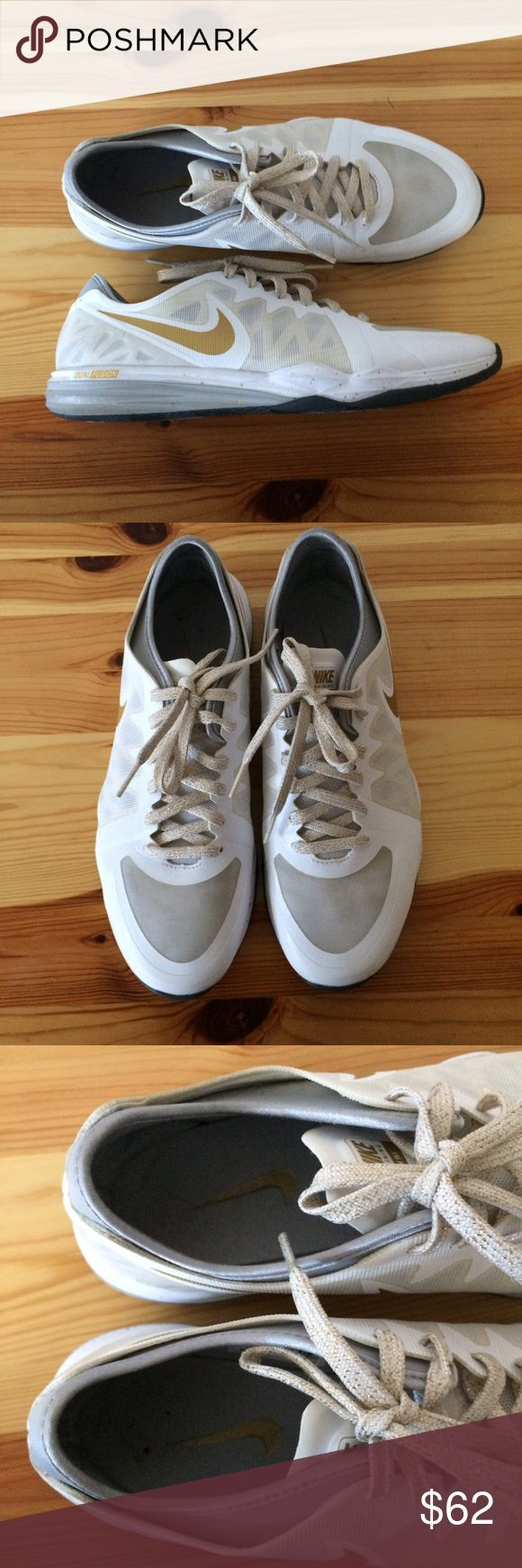 Nike training  shoes Nike sneakers in white and gold, super cute and in very good condition, used 2 or 3 times Nike Shoes