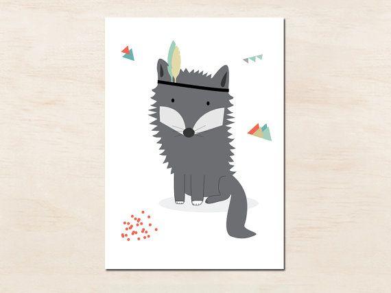 Affiche pour enfants Loup Indien idéal chambre de par greenandpaper