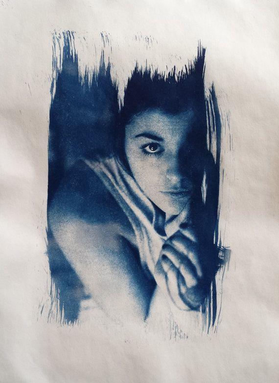 Cyanotype   Nude  Tattoo  Akt  Sensual Wallart  #cyanotypie #women #print #nude #sensual #Cyanotype