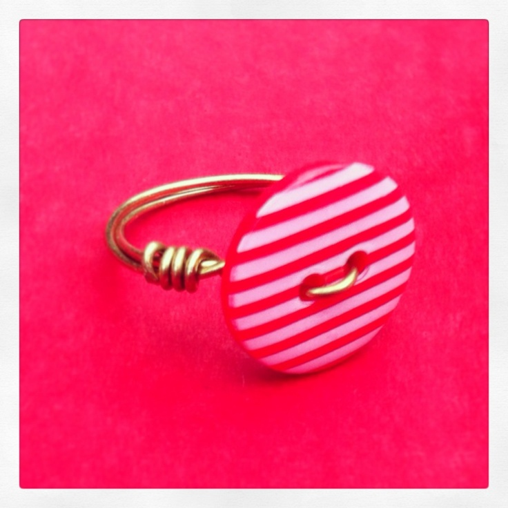 Nautical Striped Button Ring