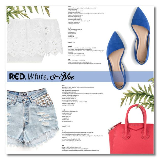 """Red, White and Blue Fashion"" by antemore-765 ❤ liked on Polyvore featuring Miguelina, J.Crew, Givenchy, redwhiteandblue and july4th"