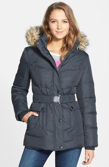 DKNY 'Hayley' Faux Fur Trim Hooded Belted Quilted Jacket (Online Only) | Nordstrom