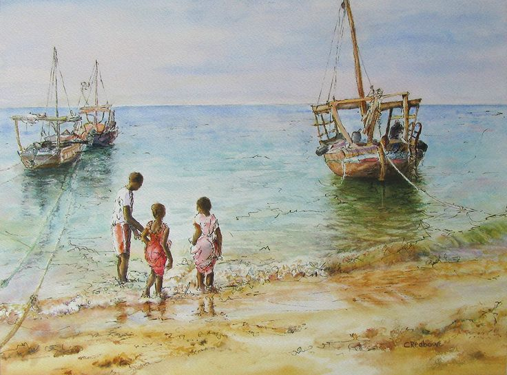 "Chris Reabow ""Beach scene, Zanzibar"""