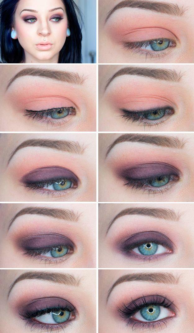 Smokey eye makeup for blue eyes