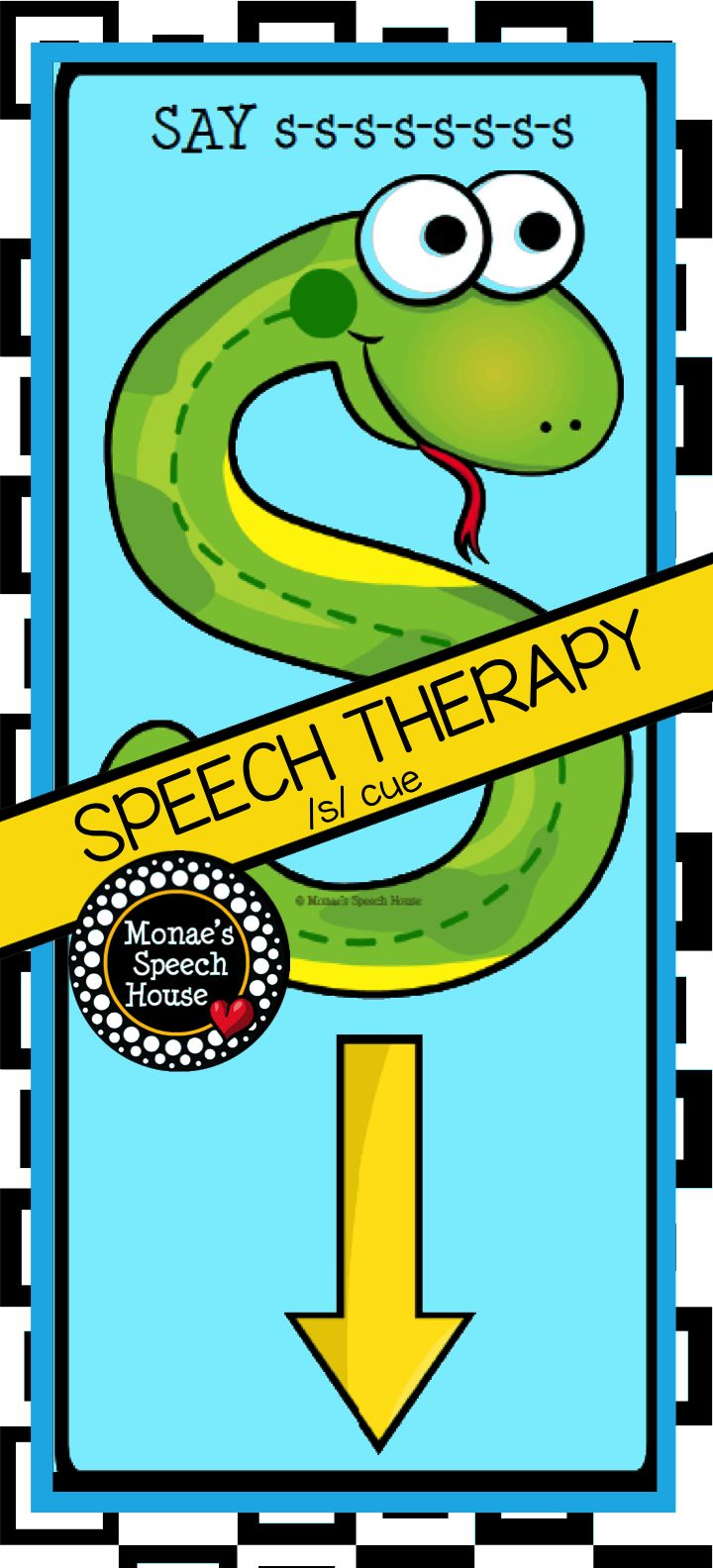 Speech Therapy Visual Cues! Snake cues for /s/ and /s/ blends. This bundle is packed with speech sound posters, speech room decor, speech worksheets, homework sheets, and tons more! Articulation, phonology, speech sounds for speech therapy.