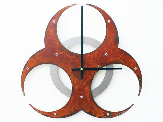 Biohazard Wall Clock I Rusted by All15Designs on Etsy