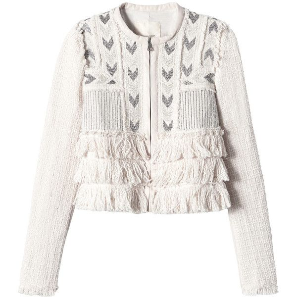 Rebecca Taylor Tweed Embroidered Fringe Jacket ($389) ❤ liked on Polyvore featuring outerwear, jackets, coats, movida, rebecca taylor jacket, fringe jacket, white fringe jacket, embroidery jackets and tweed jacket