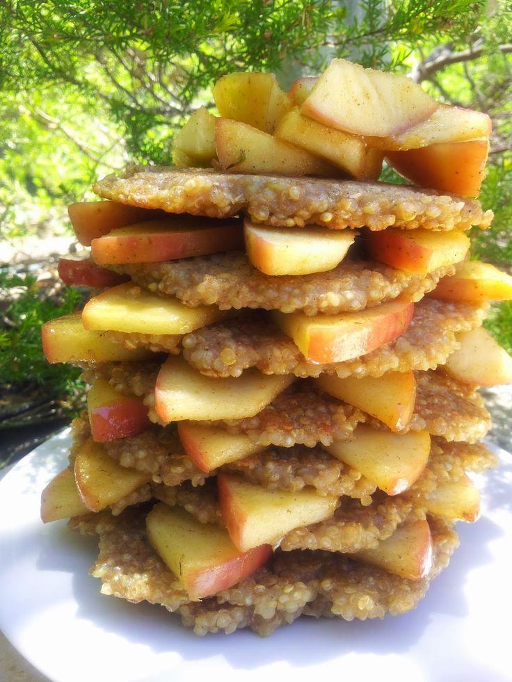 Chunky on Chia: {GF & Vegan} QUINOA GINGERBREAD PANCAKES WITH CINNAMON-STEWED APPLE