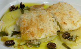 Receita de Claude Troisgros: linguado recheado com bacalhau, servido com batatas e azeitonas.
