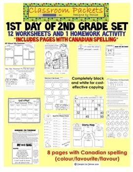 "Not sure what to do for the first day of school? I've got you covered! I've put together a set of 13 worksheets that you can use as singles or staple together to make a packet of work. 12 worksheets are for students to work on in the classroom and 1 is a homework sheet (""Me Bags"") to send home on the first day of school. Includes pages with both U.S. and Canadian spelling $"